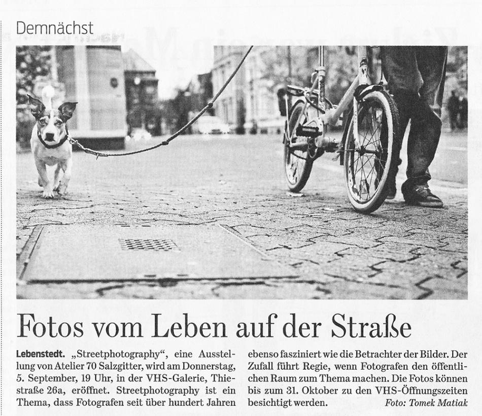 Ausstellungsankündigung Salzgitter-Zeitung vom 2. September 2013